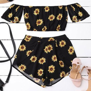 Women's Casual Two Piece Set Women Off Shoulder Sunflower Printed Beachwear Crop Tops Set