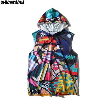 Pullover Sleeveless Hoodies Shirts Mens Hip Hop Graffiti Abstract Skateboard Print Summer Casual Hooded Sweatshirts Streetwear