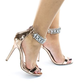 Adele423 Open Toe High Heel Dress Sandal w Rhinestone Crystal Ankle Strap
