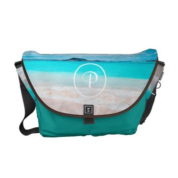 Aqua beach photo custom monogram messenger bag