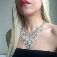 Silver Beaded Necklace,Sead Bead Necklace,Fringe Bead Necklace,Collar Necklace,Beaded Neclace,Beadwork Necklace,sparkle necklace