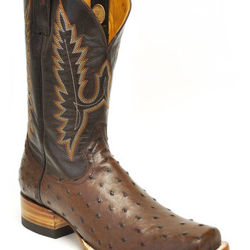 Gavel Handcrafted Full Quill Ostrich Square Toe Stockman Cowboy Boots-Tobacco