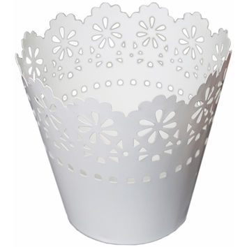 "NEW! Galvanized Scalloped Tin Medium 5.5""""X5.75""""-White"