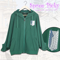 Good Quality Attack on Titan batwing zip up hoodie sweater SP130051 from SpreePicky