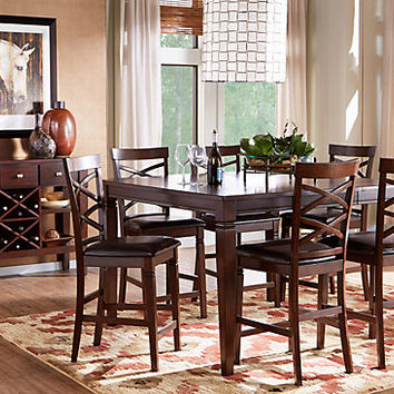 Riverdale Cherry 5 Pc Square Counter Height Dining Room - Dining Room Sets Dark Wood