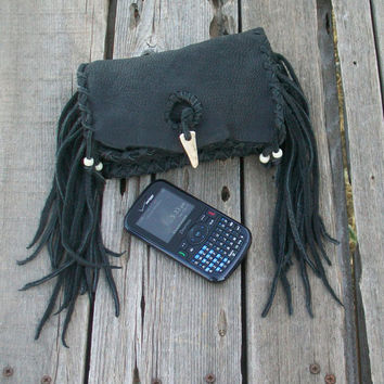 Black leather clutch Fringed leather clutch Leather phone case