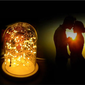 Romantic Table Lamp with Wooden base, Copper Wire Led String Light Led Nightlight, Bedroom Star Night Lamp