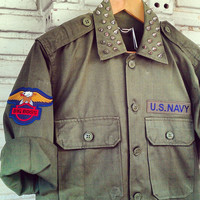 SALE 20% Vintage Reworked Studded Green Army Jacket / Studded Military Jacket size: M