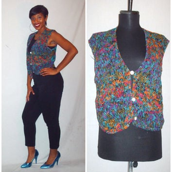 Vintage 1990s Colorful Floral Vest