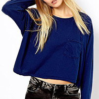 Blue Long Sleeve Crop Top with Pockets