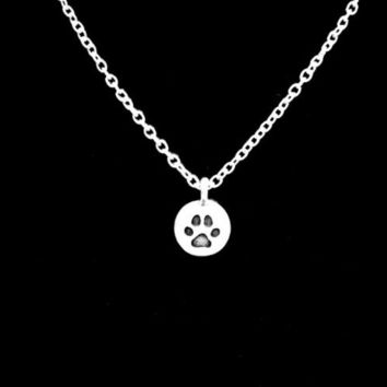 Paw Print Dog Cat Fur Baby Animal Charm Necklace