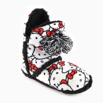 Hello Kitty Sherpa Booties: Pom-pom