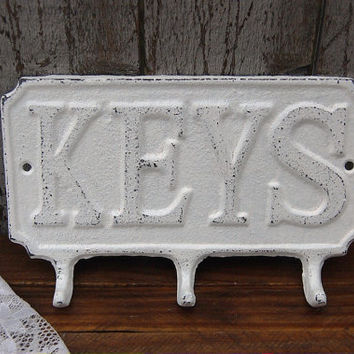 Key Holder, Shabby Chic, White, Hand Painted, Cast Iron, Metal, Distressed, Key Rack, Beach Decor