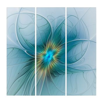 The little Beauty Modern Blue Gold Fractal Flower Triptych