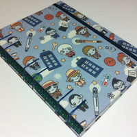 Eleven Doctors - Fabric Handmade Dr Who Journal Notebook Diary - Coptic Stitched