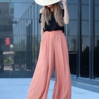LMFG8W Lady Long Pants Drawstring Trousers Womens Casual Elastic Waist Chiffon Harem Office Pants