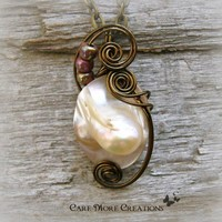 Wire Wrapped Necklace- Opalescent Mabe Pearl Shell Pendant