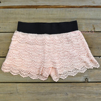 Heat Wave Peach Lace Ruffle Shorts