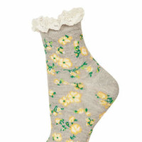 GREY SPRING ROSE LACE TRIM ANKLE SOCKS
