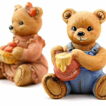 Set of Vintage Porcelain Fall Harvest Time Teddy Bears Figurines Holding Spilled Honey and Apples 1980s Homco Home Interiors Collectibles