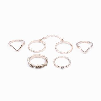 2017 New 6 units / lot Punk style bright gold Stacking midi finger knuckle rings charm ring jewelry sheet September Indoor #50