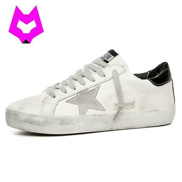Brand Designer 2017 Italy Genuine Leather Casual Women Shoes All Sport Star Breather Sneakers Footwear Zapatillas Women Flats