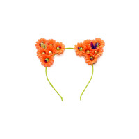 Neon Rhinestone Cat Ear Headband, Floral Cat Ears, Kitty Ears Headband, Cat Costume, Rave Costume, Electric Daisy Carnival, Electric Zoo