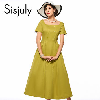 Sisjuly vintage dress a line godden women party dress retro 1950s rockabilly pin up dresses yellow grace style vintage dresses