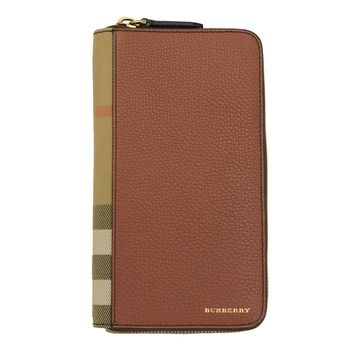 Burberry House Check and Grainy Leather Ziparound Wallet 4061991