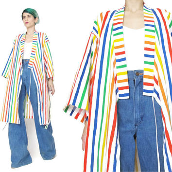 Vintage 80s Striped Kimono Rainbow Printed Cotton Kimono Long Cotton Robe White Kimono Dressing Gown Asian House Coat Duster Jacket (M/L)
