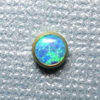 Blue Opal in Gold Titanium Microdermal Top - 3mm 4mm 5mm