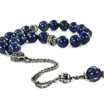Komboloi, Worry Beads, Lapis Lazuli Beads, Metal Shield Bead on Silvertone Metal Chain