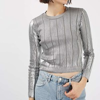 Foil Pointelle Crop Knitted Top | Topshop