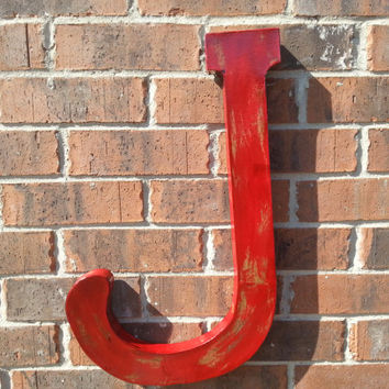 Distressed large letter J. Hand finished with a rustic shabby wood look in Red