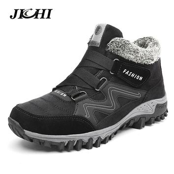 JICHI Men Boots Winter With Fur 2018 Warm Snow Boots Men Winter Boots Work Shoes Men Footwear Fashion Rubber Ankle Shoes 35-46