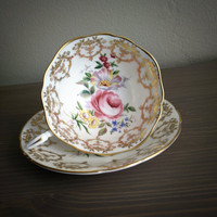 Antique Paragon pink rose tea cup and saucer, gold gilt English tea set, paragon bone china wedding gift