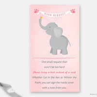 Elephant Book Request Card Baby Shower Printable, Pink and Grey Bring a Book Instead of a Card Insert for Girls with Birds, Instant Download