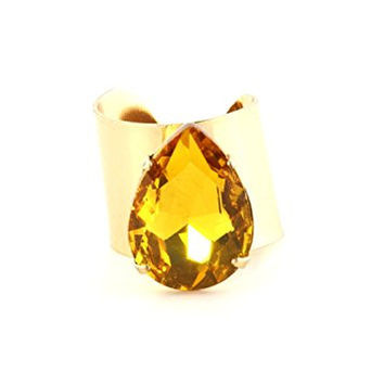 Teardrop Shaped Crystal Wrap Ring Gold Tone Amber RK25 Cocktail Statement Fashion Jewelry
