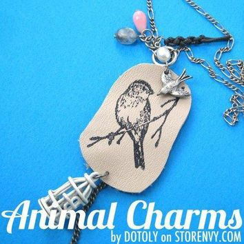Bird on A Branch Unique Animal Ink Stamped Leather Pendant Necklace