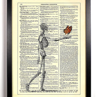 Skeleton With A Butterfly Repurposed Book Upcycled Dictionary Art Vintage Book Print Recycled Vintage Dictionary Page  Buy 2 Get 1 FREE