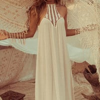 Halter Chiffon Maxi Dress