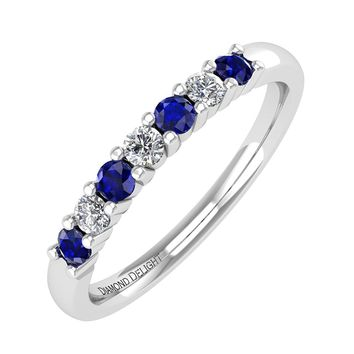 IGI CERTIFIED | 10k Gold White Diamond & Blue Sapphire 0.21 carat Wedding/Anniversary Band Ring (White, Yellow, Rose)