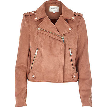 Dusty pink faux suede biker jacket - jackets - coats / jackets - women
