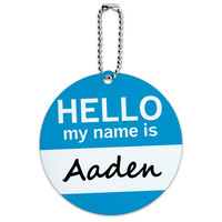 Aaden Hello My Name Is Round ID Card Luggage Tag