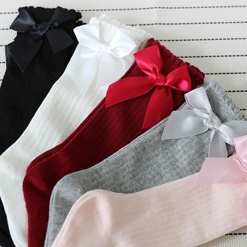 Big Bow Knee Soft Lace Long  Socks For Baby Girl