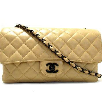 CHANEL Classic Flap Chain Shoulder Bag Quilted Lambskin Leather Beige