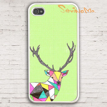 iPhone 4 Case, Geometric Deer, colorful deer elk anklets iphone hard case for iphone 4, iphone 4S