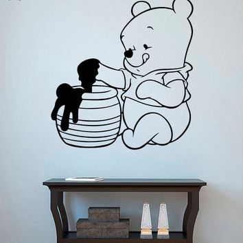 Cartoon The Pooh Wall Decal Winnie Wall Sticker For Kids Rooms Children Nursery Bedroom Decoration Accessories Animal Bear SY416