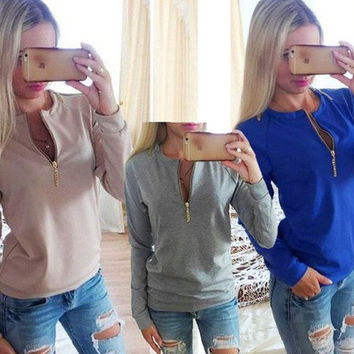 Autumn Winter Women Sweatshirts Zipper Long Sleeve Casual Blouse Cotton Solid Pullover Sweater Women's Shirts Jacket Sports Coat [8023422087]
