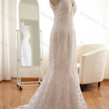 Cap sleeves floor-length lace 2014 new spring wedding dress